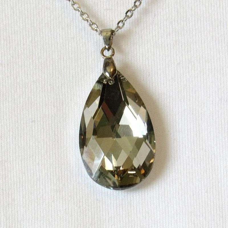 Faceted crystal teardrop closeup