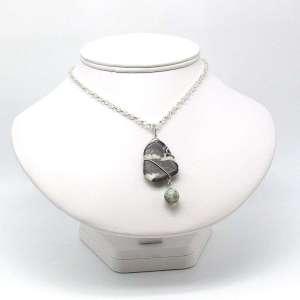 Zebra and sesame jasper wire wrapped pendant