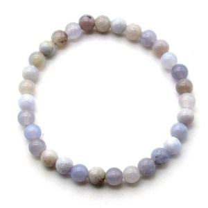 Blue chalcedony 6mm bead bracelet.