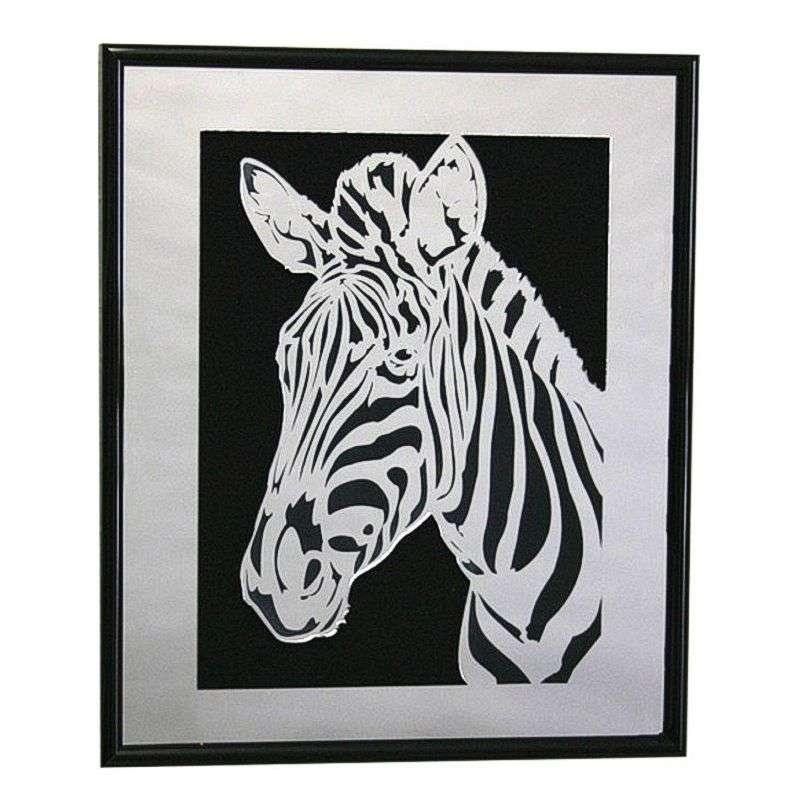 Mirrored plastic zebra wall hanging.
