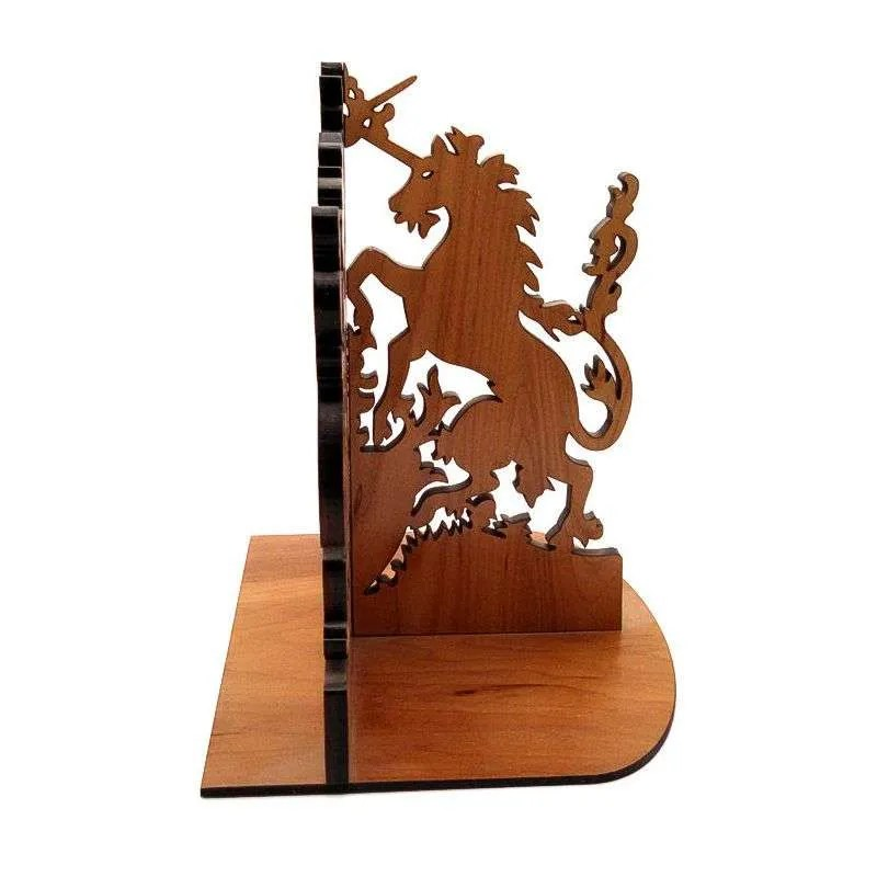 Cherry wood unicorn book end, side view.