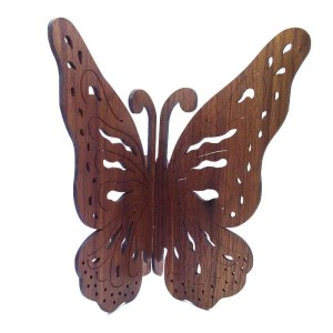 Walnut wood butterfly wall hanging