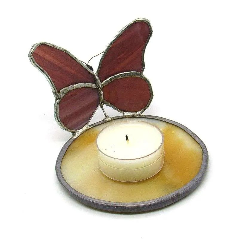 Stained glass purple butterfly tea light candle holder.