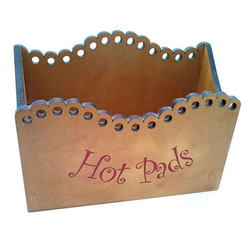 Press wood hot pad holder