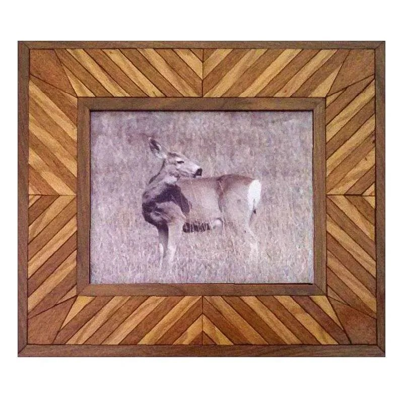 Mule deer photograph in handcrafted hardwood frame.