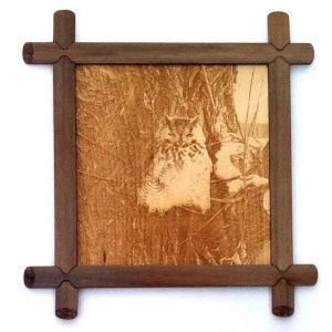 Laser engraved great horned owl on bass wood with handcrafted frame.