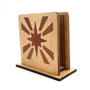 Maple and cherry inlaid starburst napkin holder.