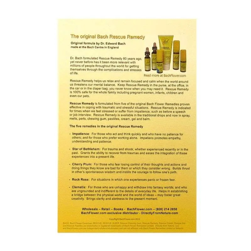 Bach Rescue Remedy chart