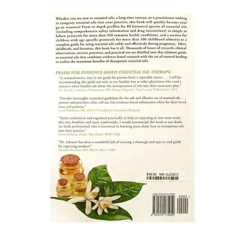 Back cover of Evidence Based Essential Oil Therapy by Dr. Scott A. Johnson