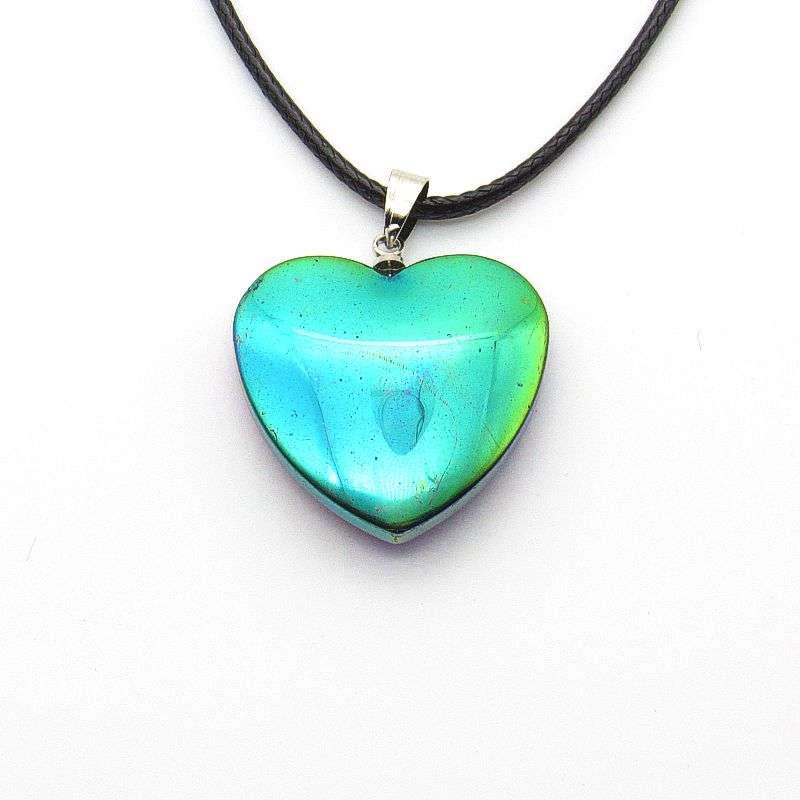 Hemalyke patterned rainbow heart pendant-back side