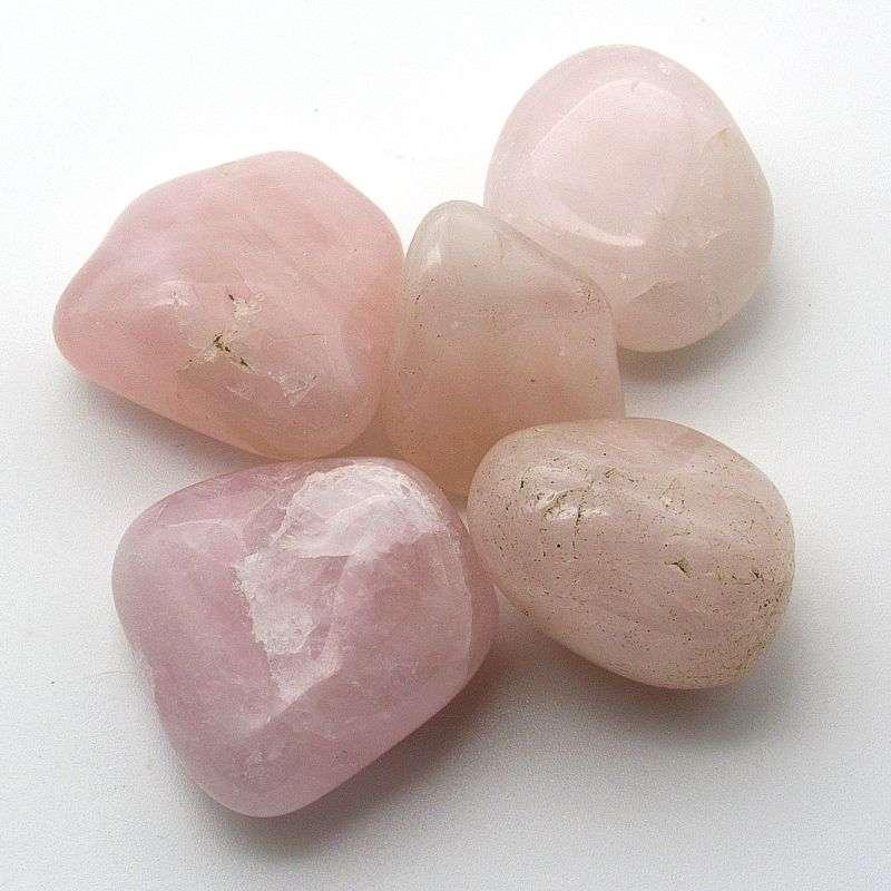 Tumbled rose quartz.