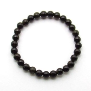 Gold sheen obsidian gemstone 6mm bead bracelet.