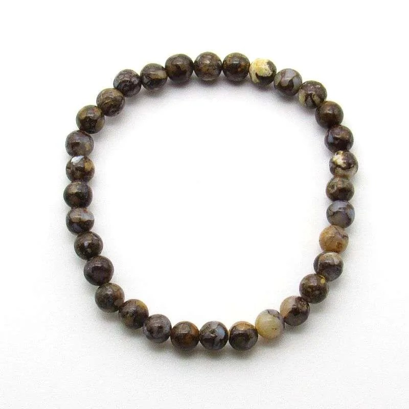 Brown opal gemstone 6mm bead bracelet.