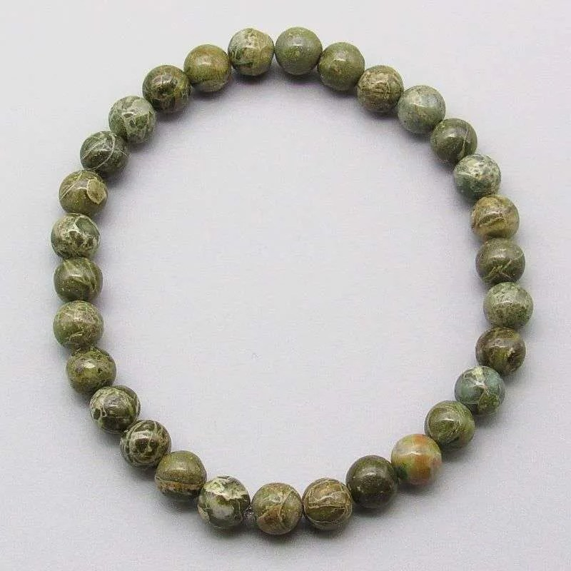 Green Brecciated Jasper 6mm gemstone bracelet.