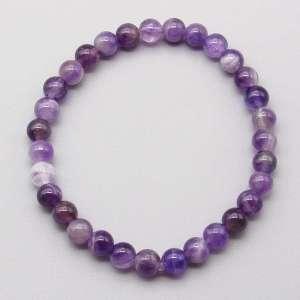 Banded amethyst 6mm gemstone bead bracelet.