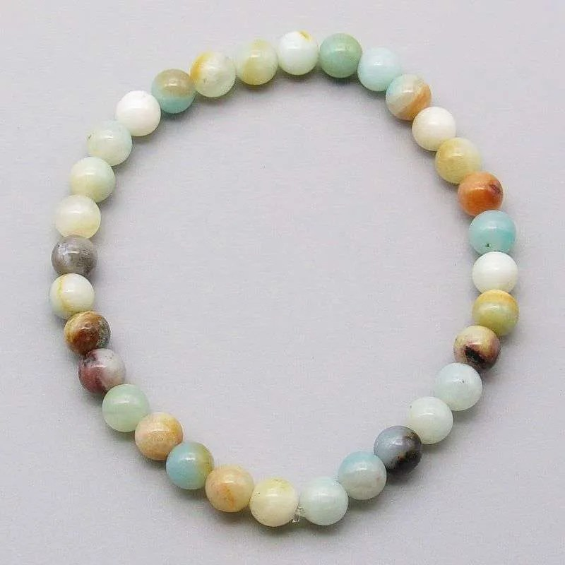 Flower amazonite 6mm gemstone bead bracelet.