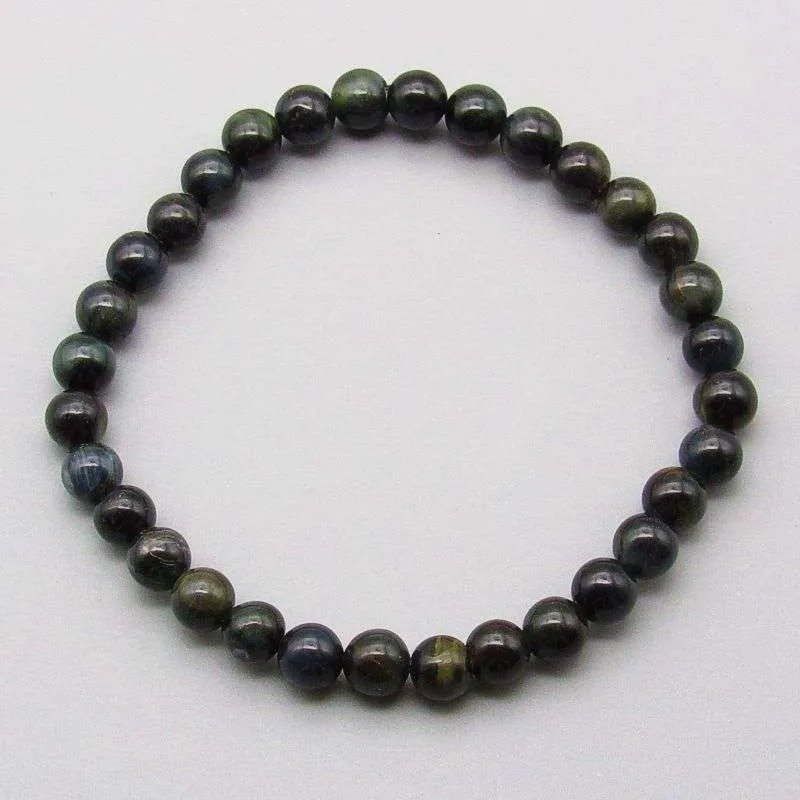 Blue tiger eye 6mm gemstone bead bracelet.