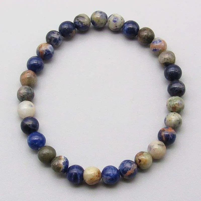 Orange sodalite 6mm gemstone bead bracelet.