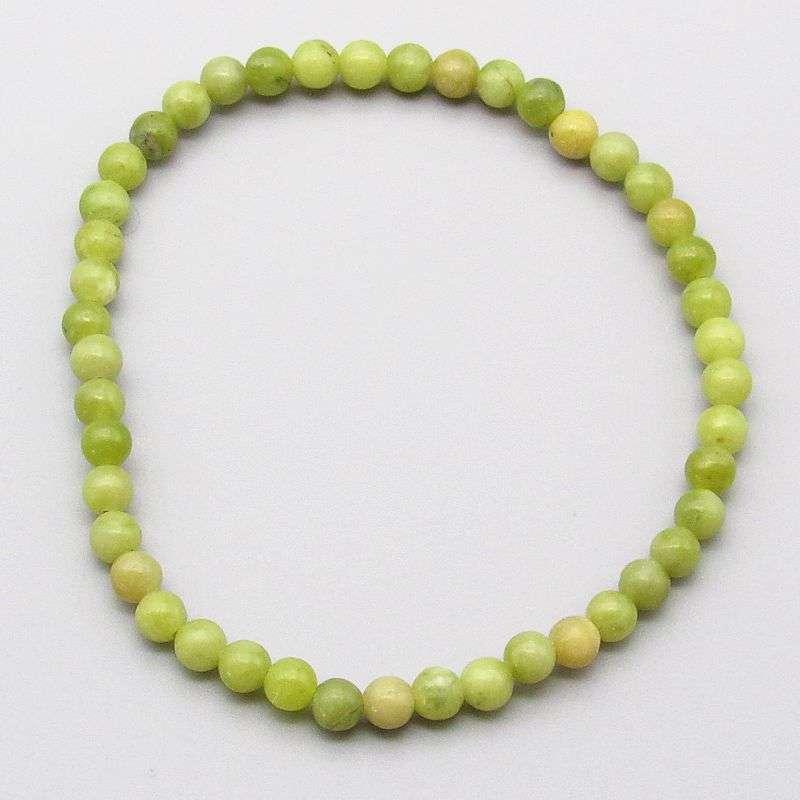 Light green serpentine 4mm gemstone bead bracelet.