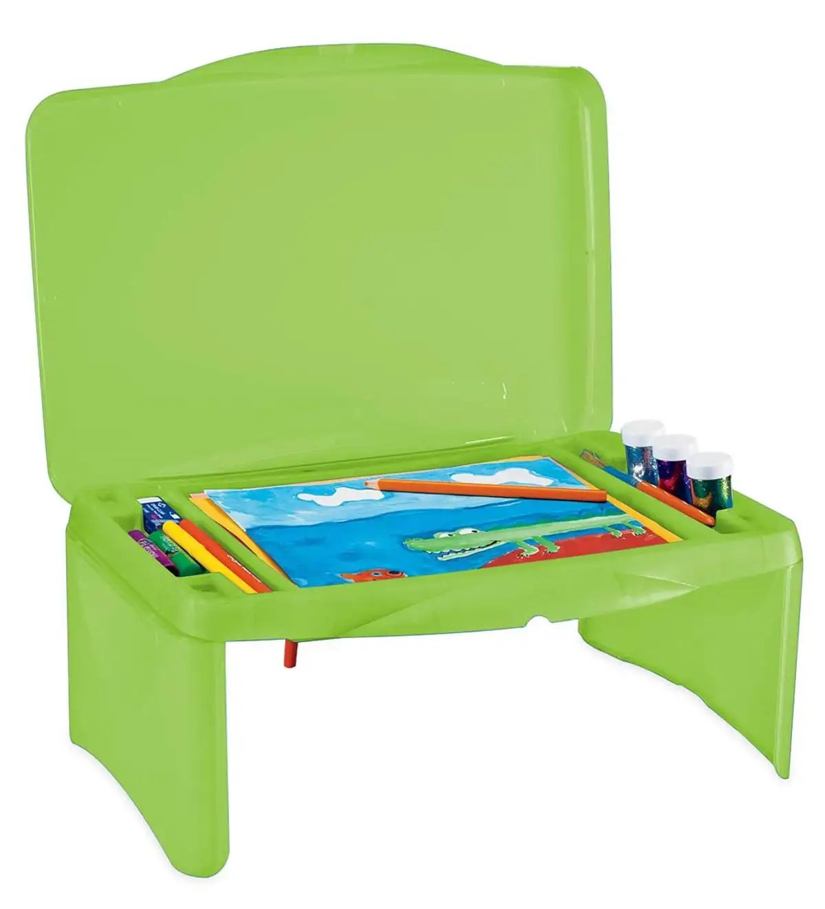 Portable Folding Lap Desk With Storage Activity Tray Green Hearthsong