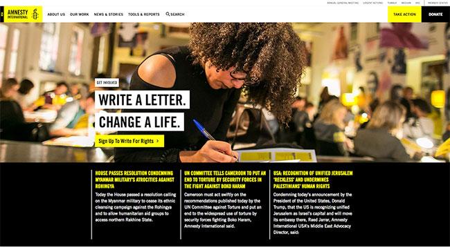 Screenshot of the Amnesty International USA website, made with WordPress