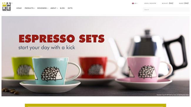 Screenshot of the MAKE International website, made with WordPress