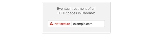 Example of the warning flag that will appear in Chrome for sites that do not have HTTPS