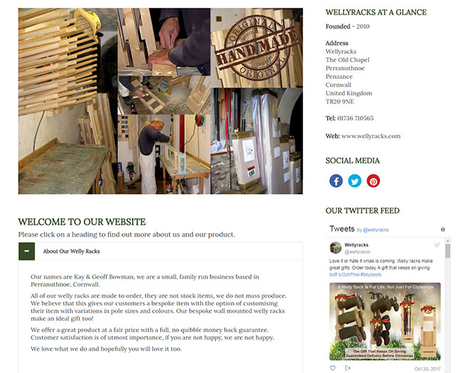 Screenshot of the About Us page on the Wellyracks site