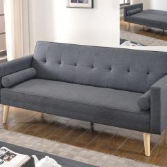4 Foot Wide Sofa Bed Exposed Wood Frame Viewing Paris Linen Dark Grey Sofas Beds