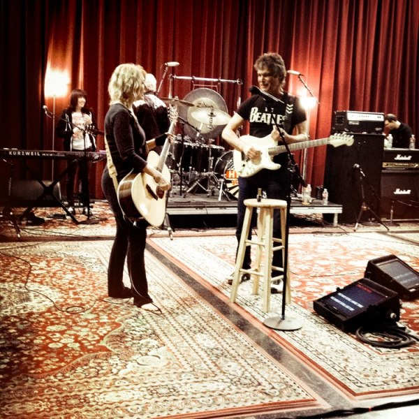 NANCY & ROGER REHEARSE. (With Debbie in the back)