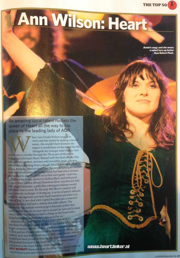Ann Wilson of Heart is number 1.