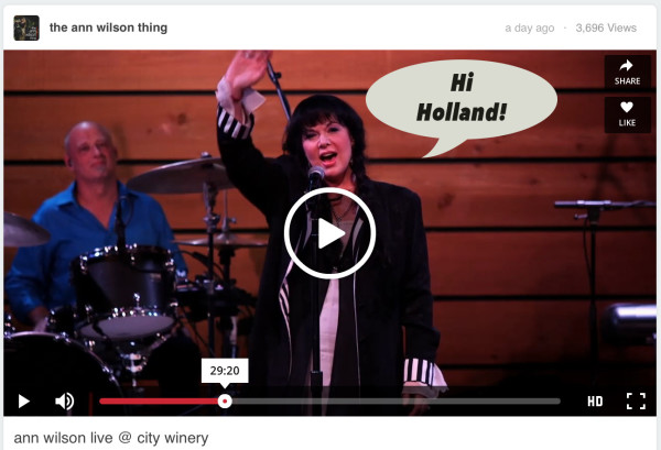 Ann Wilson's shout out to the Dutch fans! :) *glowing*