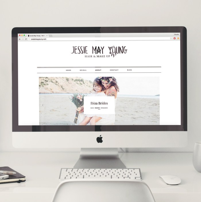 hair & Makeup website design for Jessie May Young by Heartmade.es - design for happiness