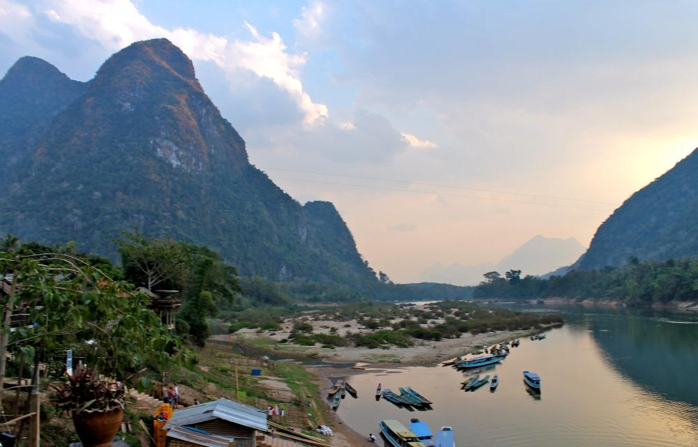 Muang Ngoi river and mountains, Laos