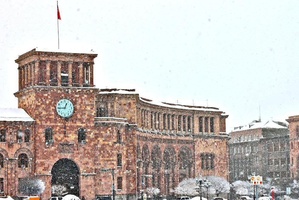 republic square snow yerevan, armenia