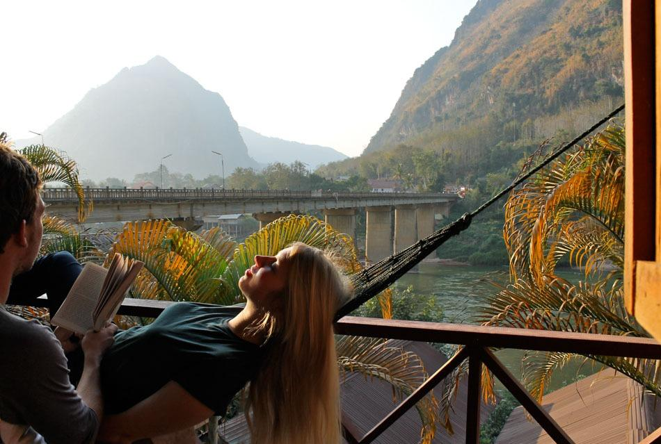 backpacking laos river