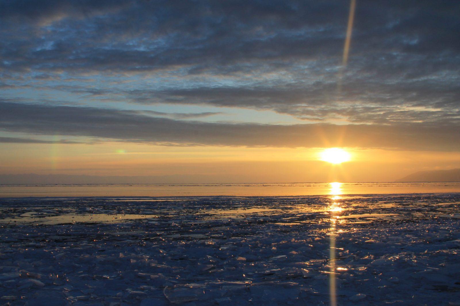 sunset Lake Baikal, Russia, winter