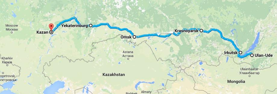 Trans Siberian route