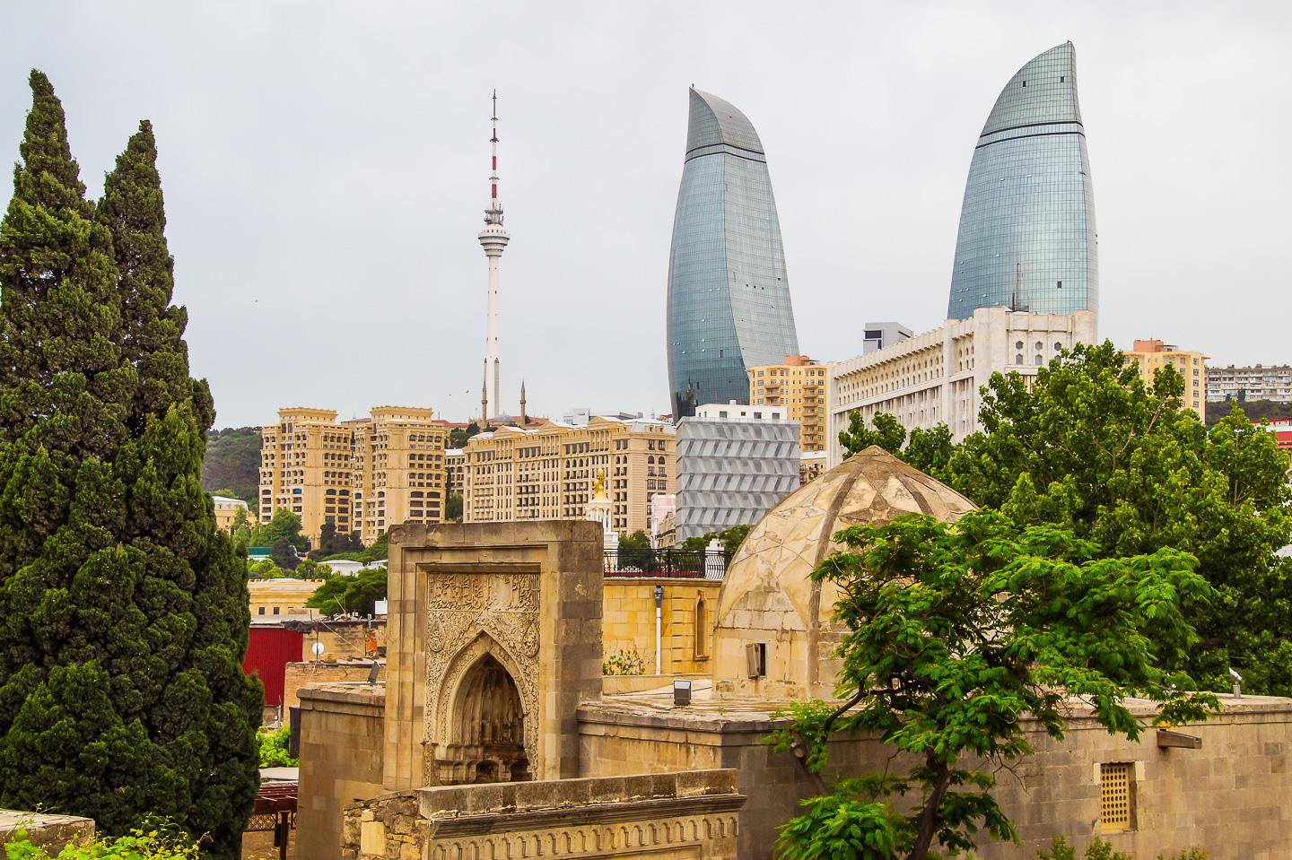 Old town of Baku, the Flame Towers