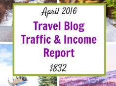 travel blog traffic income report for April 2016: $832
