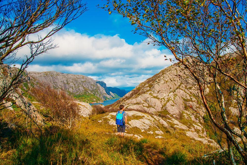 hiking up Brufjell Norway