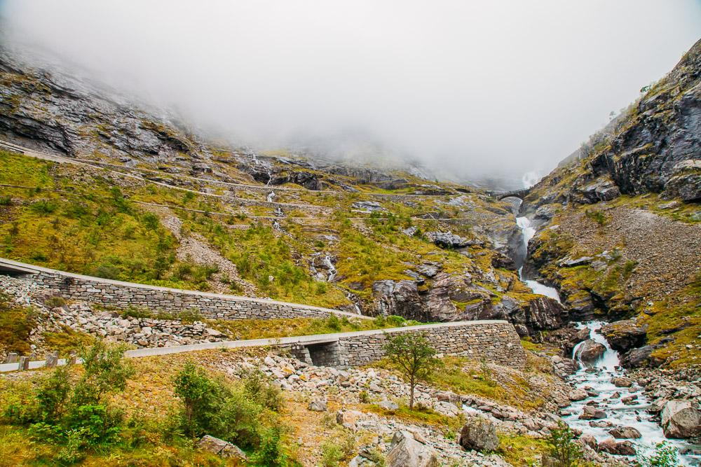 Norwegian road trip Trollstigen mountains foggy day
