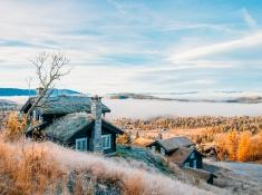 Rauland Norway in autumn foggy days