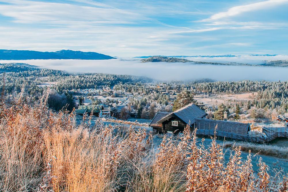 norwegian mountain cabin fall autumn in norway