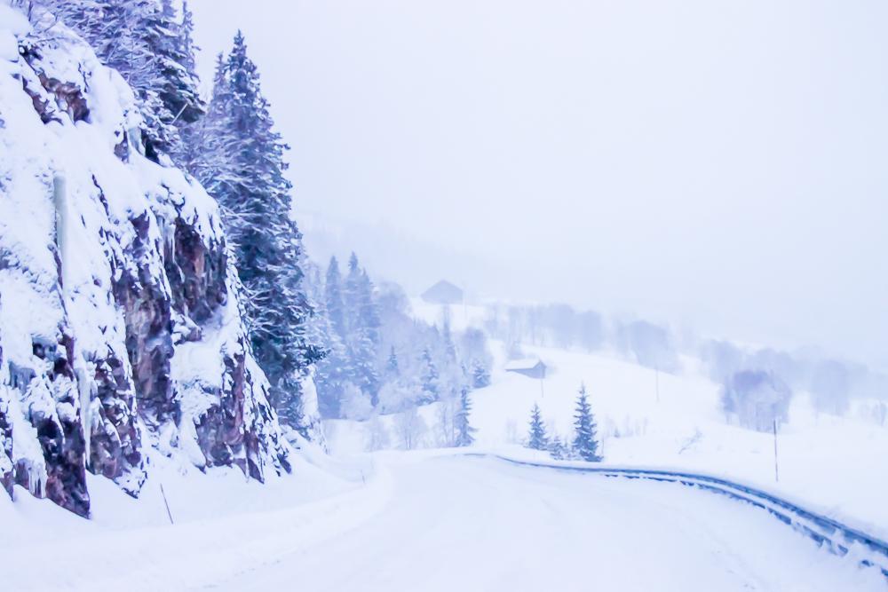 winter blizzard deep snow norway