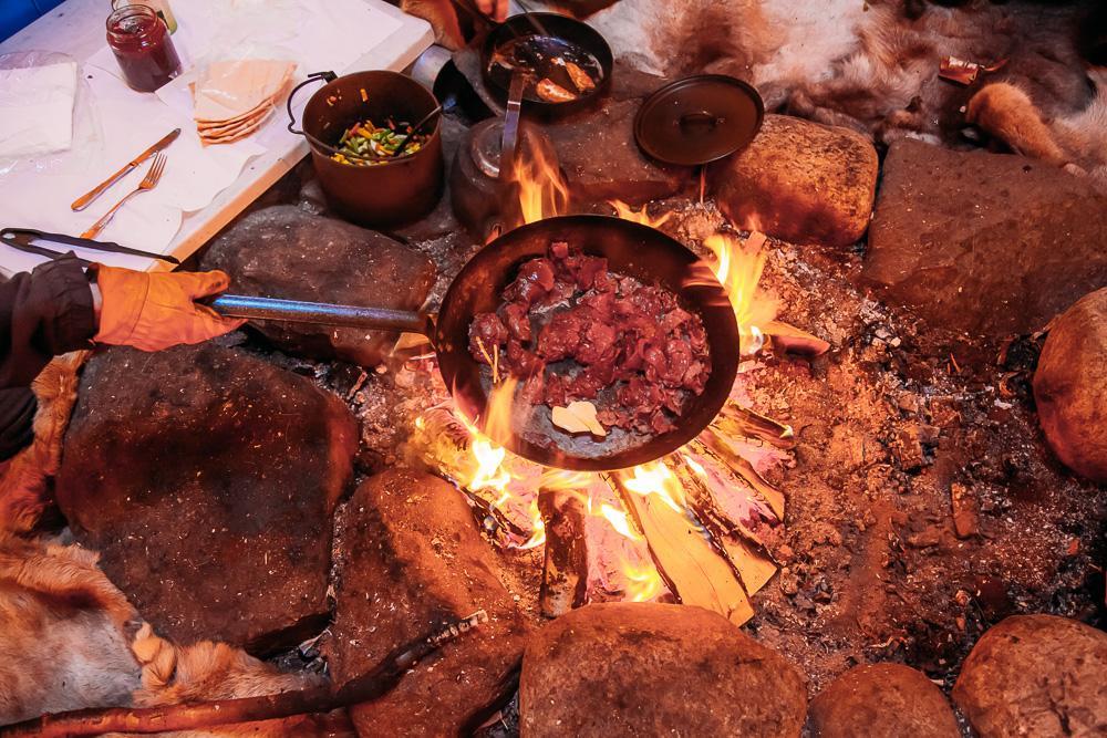 eating reindeer abisko kiruna swedish lapland tour sweden winter