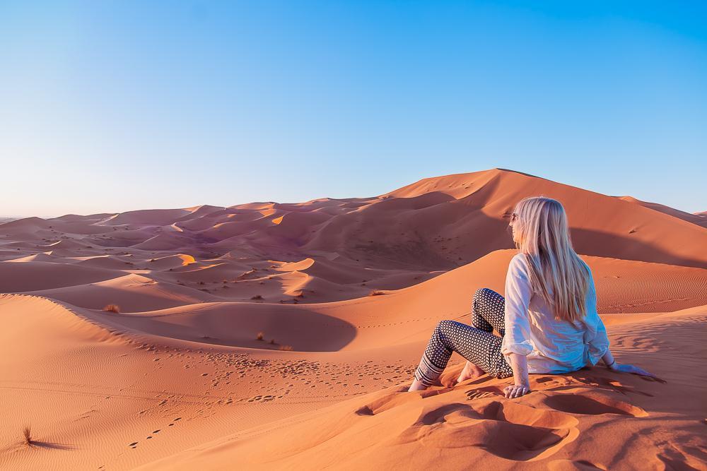 sahara desert camel trek tour merzouga morocco sand dunes photo