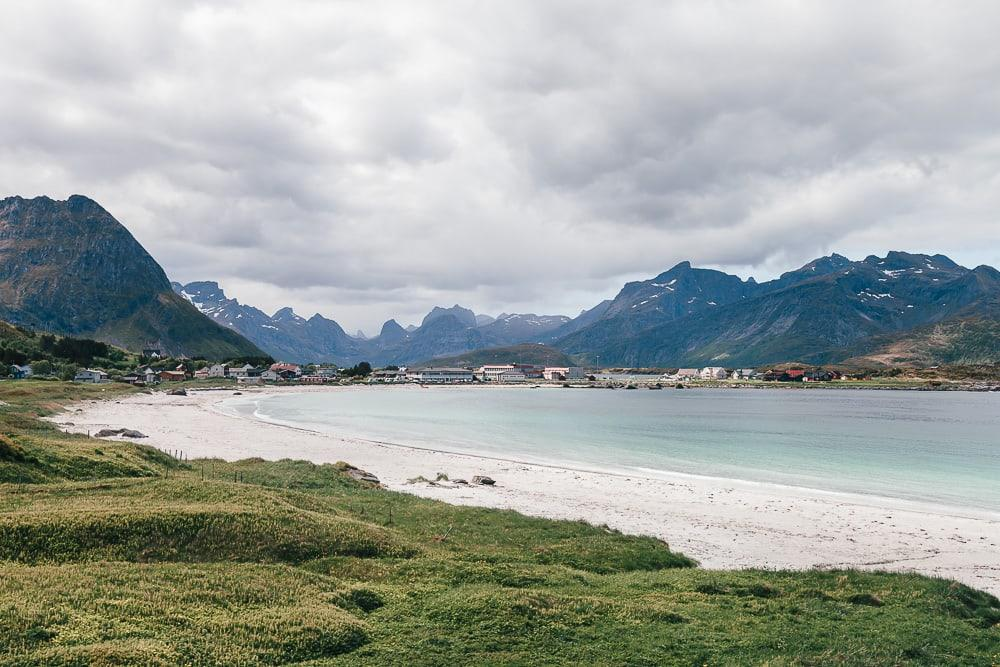 ramberg beach in summer lofoten norway