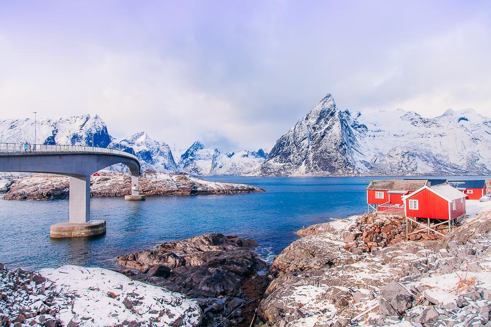 hamnøy reine, lofoten norway winter march snow bridge