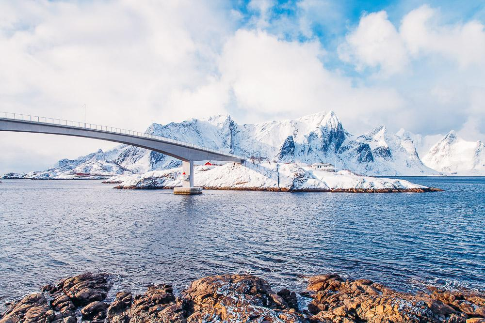 bridge hamnøy lofoten norway winter snow